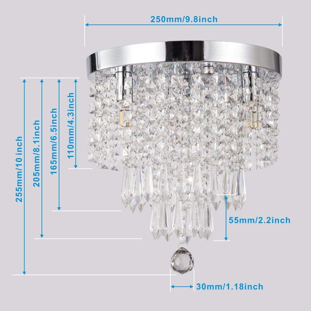 ZEEFO Crystal Chandeliers, Modern Pendant Flush Mount Ceiling Light Fixtures, 3 Lights, H10.2 W9.8 Inches, Contemporary Elegant Design Style Suitable For Hallway, Living Room, Dining Room by ZEEFO (Image #6)