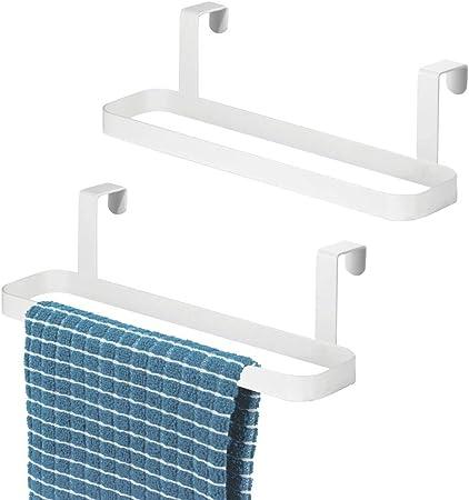 bianco finitura resistente alla ruggine Capienti porta salviette ideali per cucina o bagno mDesign Set da 2 porta asciugamani da appendere alle ante Portasciugamani in metallo