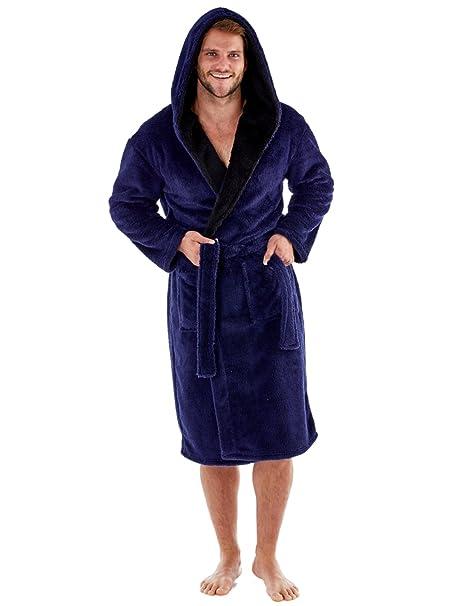 Harvey – Bata de forro polar suave con capucha y forro de contraste de 260 g/m² para hombre: Amazon.es: Ropa y accesorios