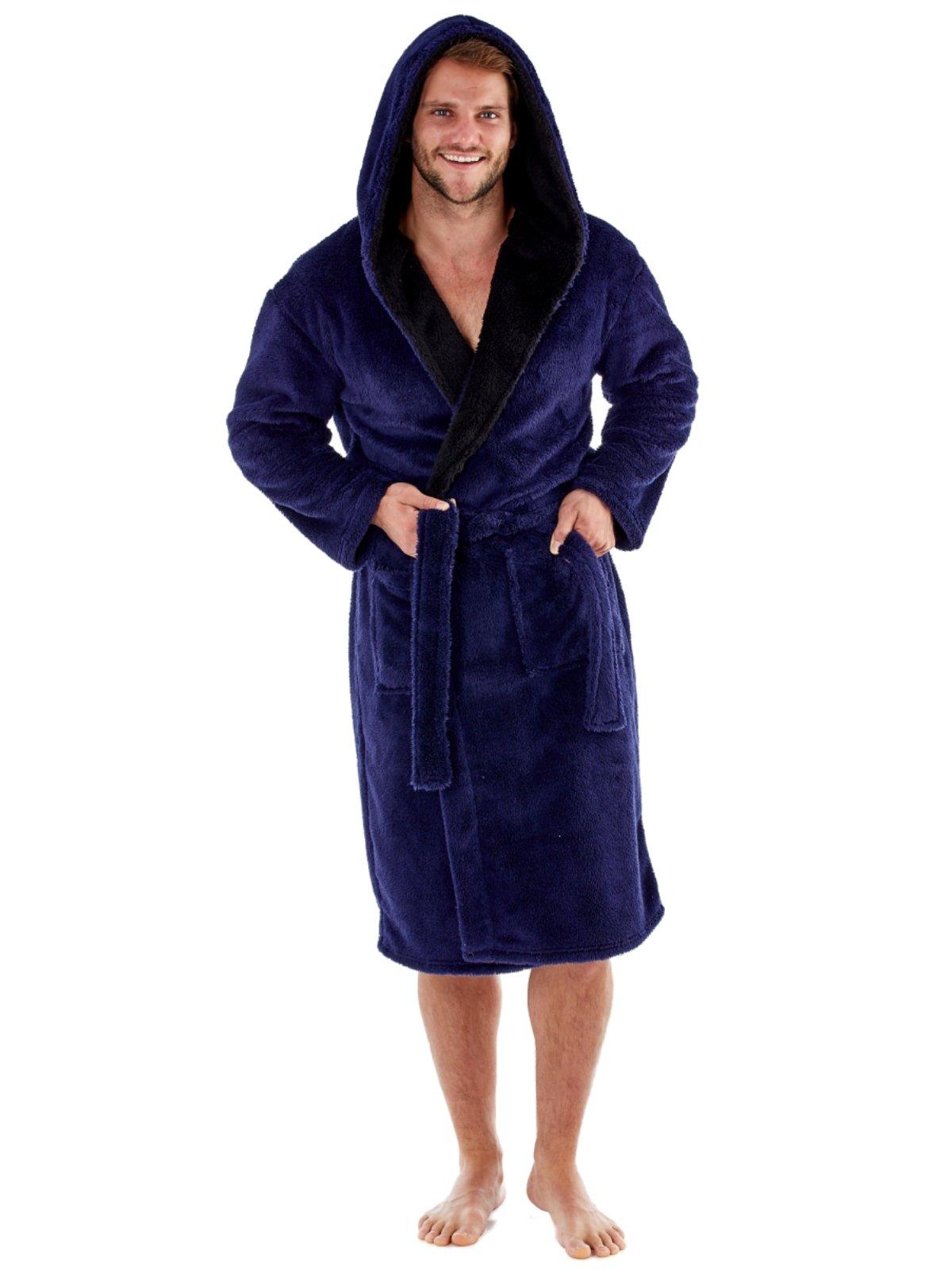 Harvey – Bata de forro polar suave con capucha y forro de contraste de 260 g/m² para hombre