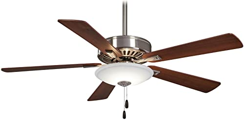 Minka-Aire F656L-BN DW, Contractor Uni-Pack 52 Ceiling Fan with LED Light, Brushed Nickel Finish with Reversible Medium Maple or Dark Walnut Blades