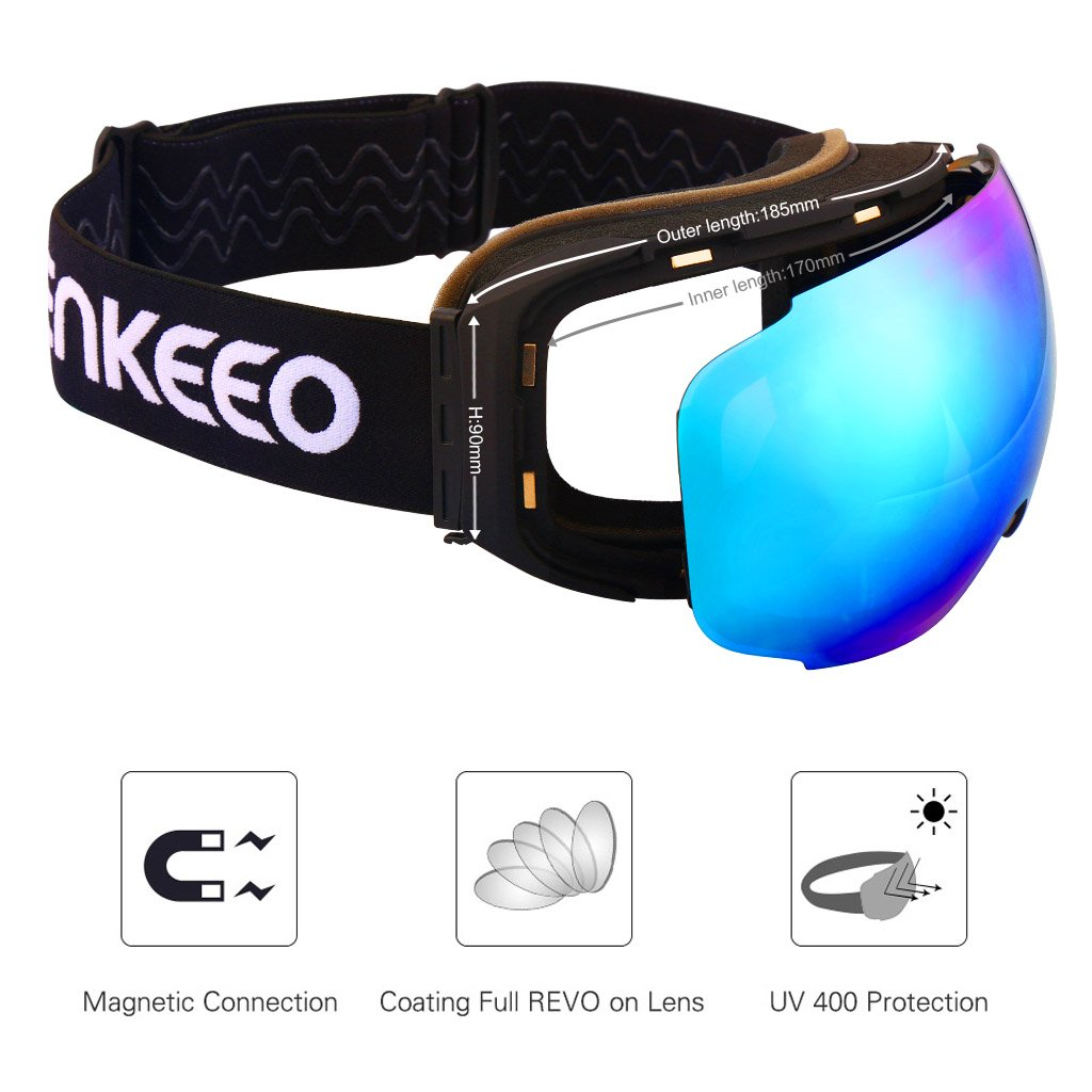 40a629bb52c Enkeeo Ski Goggles - Detachable Dual Layer Anti-Fog Magnet Lens 100% UV400  Protection larger image
