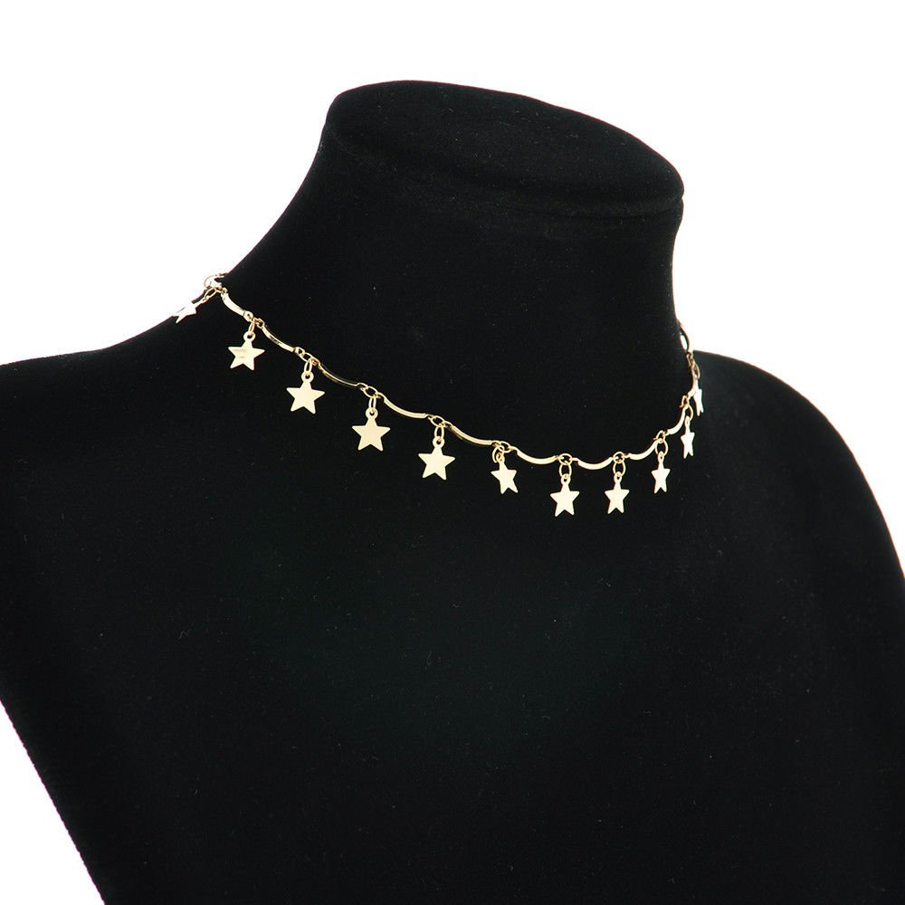 e9c8f554b79f2 Amazon.com: Jewelryongying11 Cute Simple Choker Necklace Tiny Star ...