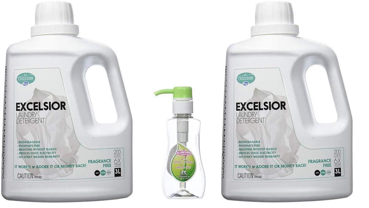 Excelsior SOAPFL3-U Liter Laundry Detergent with Eco Bottle, Fresh Scent (2-pack Detergent, 1 Eco Bottle)