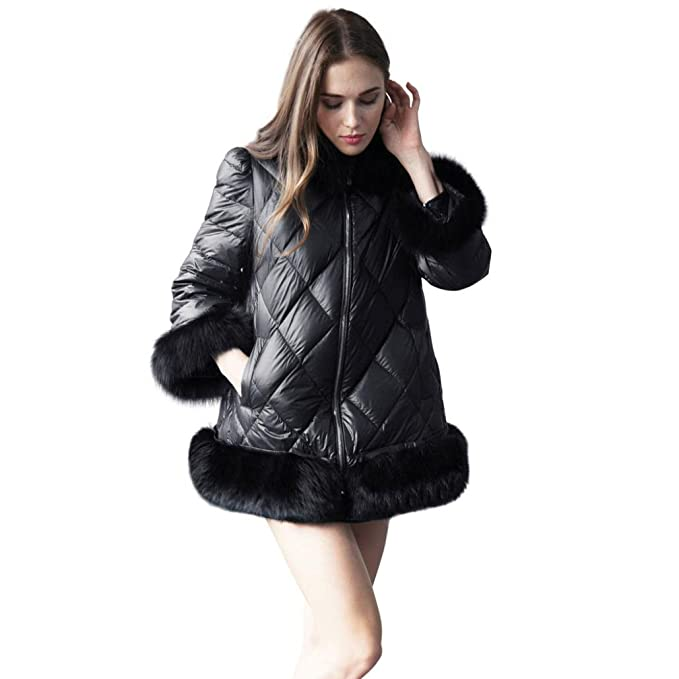Internet Abrigo de invierno de mujer Chaqueta de mosaico de piel sintética de manga larga con