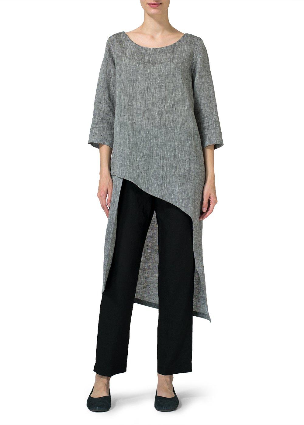 Vivid Linen Asymmetrical Tunic-M-Two Tone Black