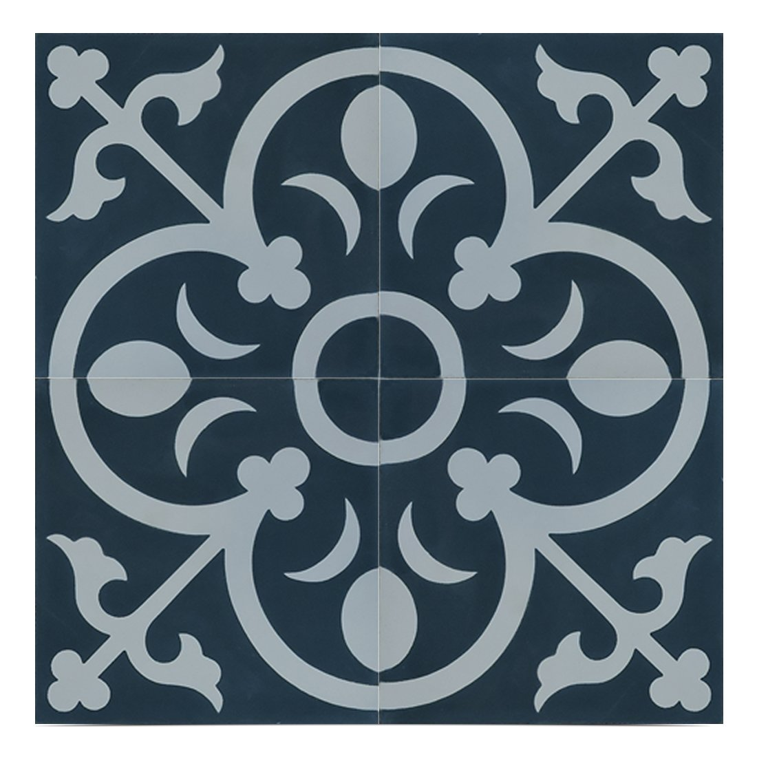 Moroccan Mosaic & Tile House CTP31-07 NadorCTP31-07 Nador 8''x8'' Handmade Cement Tile in Navy Blue/White
