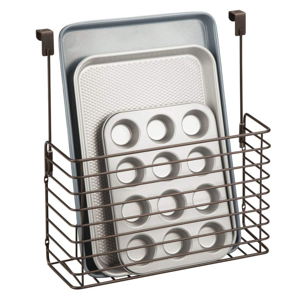 mDesign Metal Over Cabinet Kitchen Storage Organizer Holder or Basket - Hang Over Cabinet Doors in Kitchen/Pantry - Holds Bakeware, Cookbook, Cleaning Supplies - Bronze