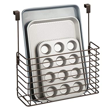 mDesign Metal Over Cabinet Kitchen Storage Organizer Holder or Basket - Hang Over Cabinet Doors in Kitchen/Pantry - Holds Bakeware, Cookbook, Cleaning Supplies - Bronze