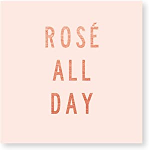 X&O Paper Goods Pink ''Rosé All Day'' Beverage and Cocktail Napkins, 20pc, 5'' W x 5'' L