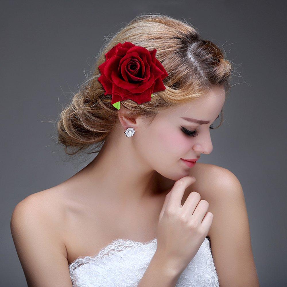 Classicbeauty élégant lumineux Rose rouge en velours Pince à cheveux Lot de 1grande 2petites) New 2018Flamenco femmes et filles Accessoires Cheveux Mariage Demoiselles d'honneur Coiffe