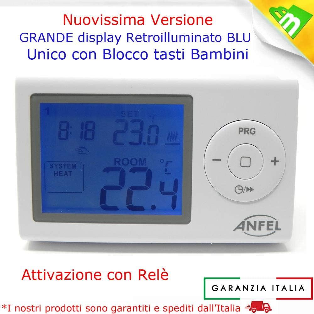 CRONOTERMOSTATO DIGITALE PROGRAMMABILE ANFEL CDE-7XL retroilluminato