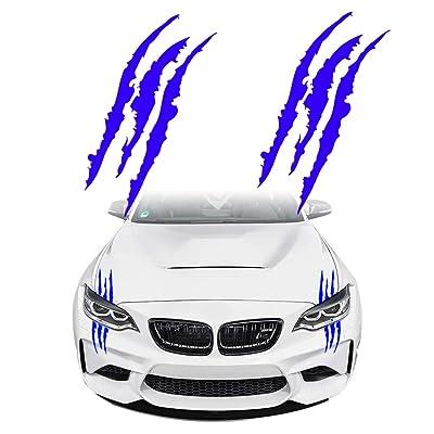KE-KE Claw Marks Decal Reflective Sticker Waterproof Headlight Decal Vinyl Sticker Decal for Sports Cars 2PCS (Blue): Automotive