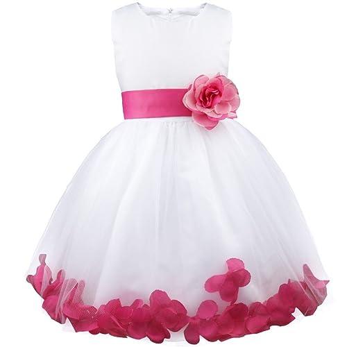 Pink flower girl dresses amazon girl flowers petal sleeveless wedding formal dress kid princess bridesmaid christening party dresses 2 14 mightylinksfo