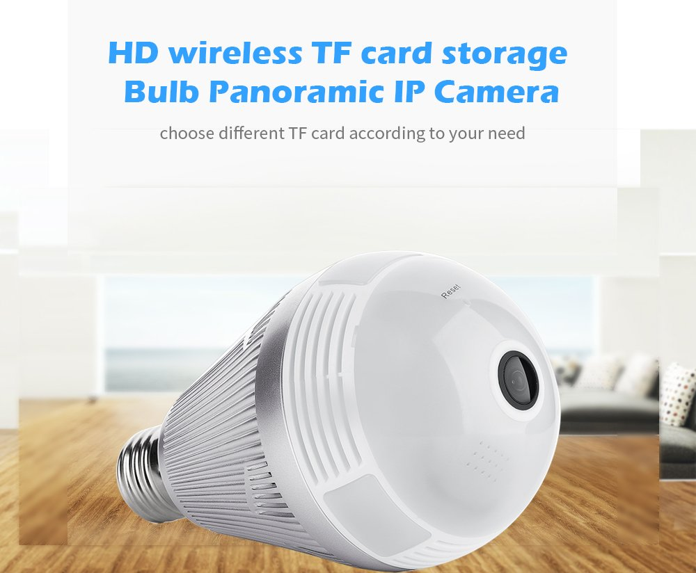 Volibel 200W HD Wi-Fi 1080P 2M 360° VR Panoramic Camera Blub IP Camera with 8G TF Card Work with Android and iOS for Home Security