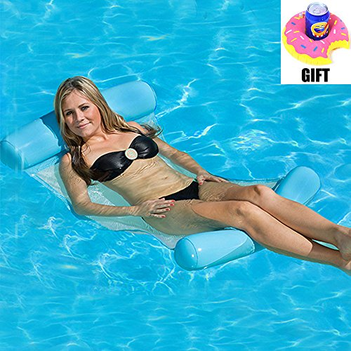 Price comparison product image LOVEYIKOAI Water Lounger Hammock Pool Float Inflatable Rafts Swimming Pool Air Lightweight Floating Chair Portable Swimming Pool Mat Suitable for Adults and Kids (Blue)
