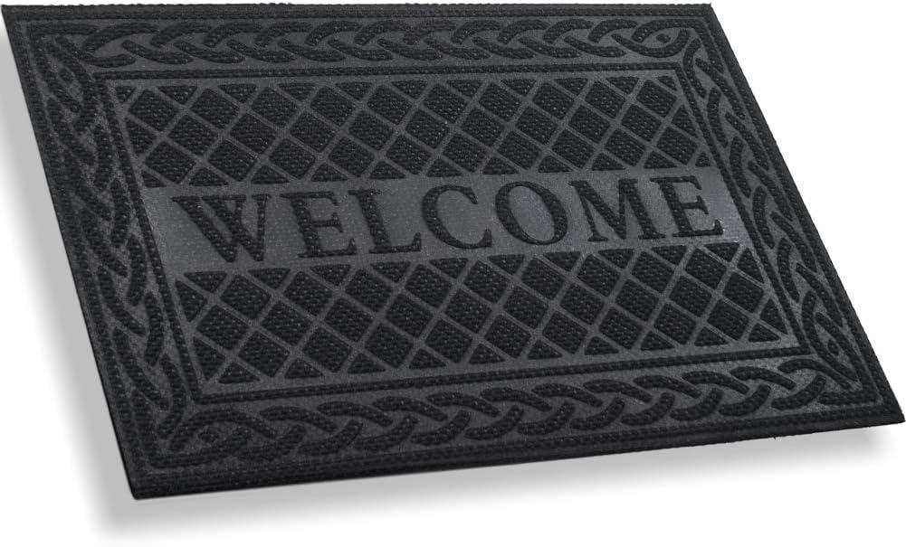 MIBAO Durable Door Mat, Heavy Duty Rubber Doormats, Welcome Mats, Indoor Outdoor, Non-Slip, Easy Clean, Absorb Water, Low-Profile Mats for Entry, Patio, Garage, Entrance Way (24×36, Black)
