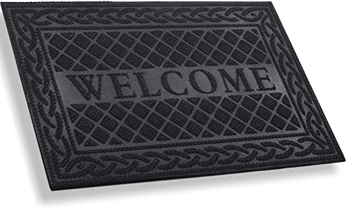 MIBAO Durable Door Mat, Heavy Duty Rubber Doormats, Welcome Mats, Indoor Outdoor, Non-Slip, Easy Clean, Absorb Water, Low-Profile Mats for Entry, Patio, Garage, Entrance Way 24 36, Black