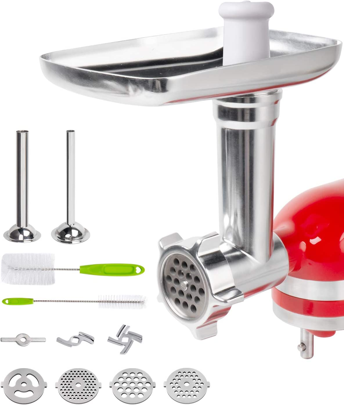 X Home Meat Grinder Attachment for KitchenAid, Metal Food Grinder Include 2 Sausage Stuffer Tubes and 3 Grinding Plates, Stand Mixer Stainless Steel Grinder