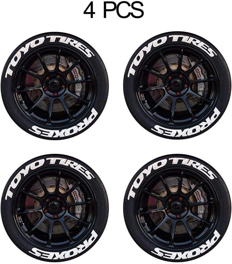 4 Sets Etiqueta engomada del neumático Logotipo 3D Etiqueta engomada de goma del neumático de la motocicleta del coche 1.1in Letras de bricolaje Etiqueta de rueda de estilo de coche personalizada