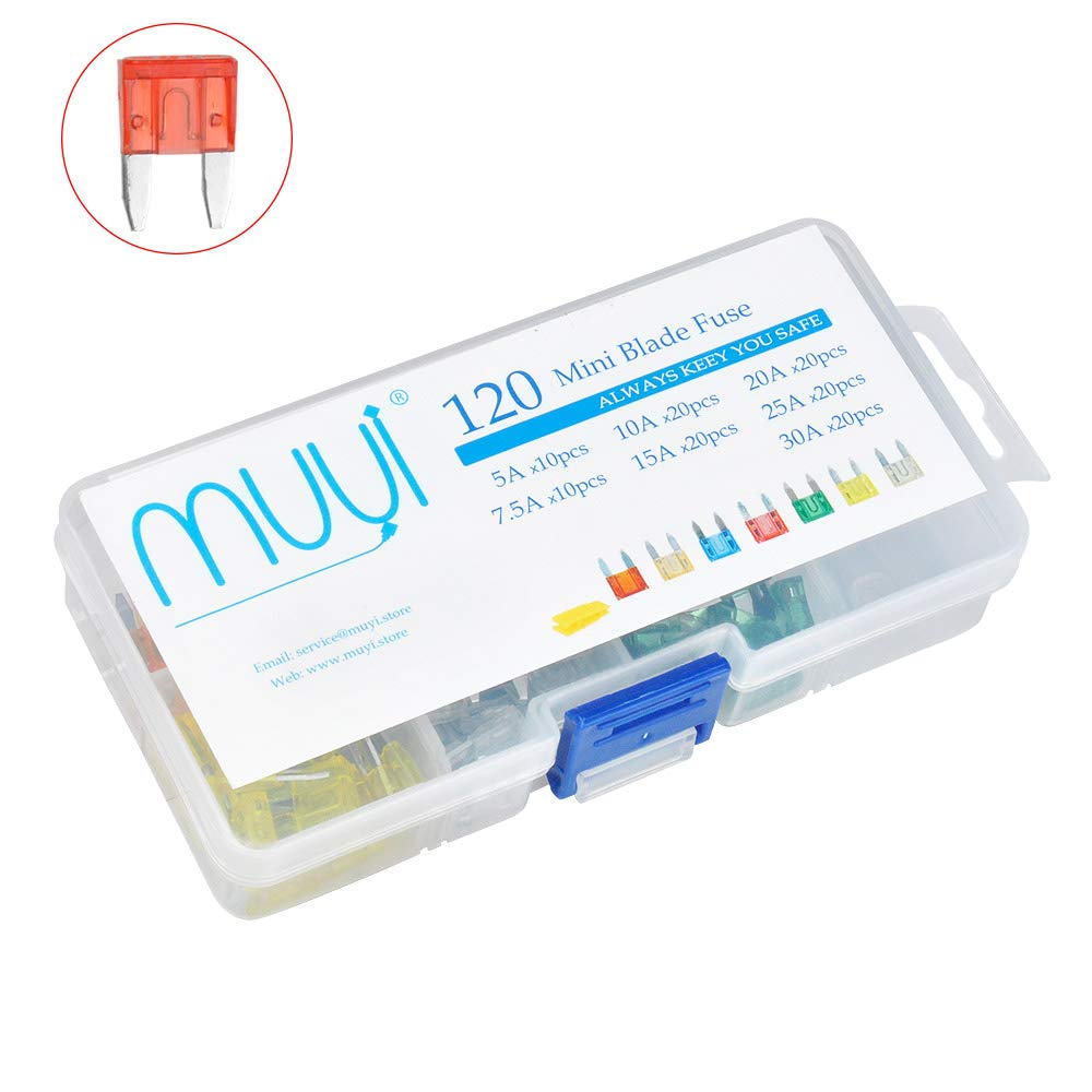 MUYI 120 Pcs Mini Blade Fuse Assortment 5, 7.5, 10, 15, 20, 25, 30 Amp ATM Fuse Kit Fuse Replacement for Car Truck Boat golf cart