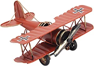 Vintage Retro Iron Aircraft Handicraft - Metal Biplane Plane Aircraft Models -The Best Choice for Photo Props Home Decor/Ornament/Souvenir Study Room Desktop Decoration (Dark Orange)