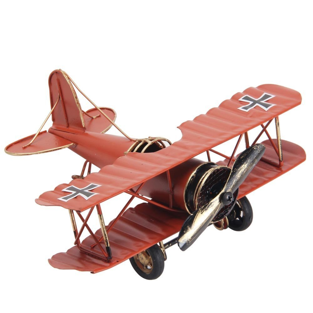 Berry President® Vintage / Retro Wrought Iron Aircraft Handicraft - Metal Biplane Plane Aircraft Models -The Best Choice for Photo Props/christmas Gift/home Decor/ornament/souvenir Study Room Desktop Decoration (Red) P-002