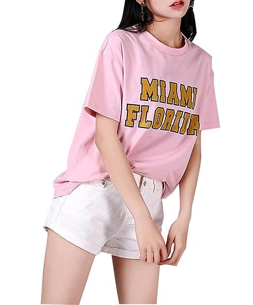 CTOOO 2018 Primavera Mujer Camiseta De Manga Corta Patrón De Letra De Cuello Redondo: Amazon.es: Ropa y accesorios