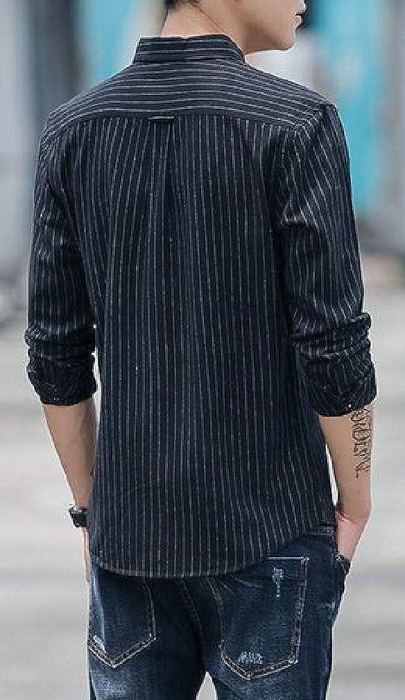 Coolred-Men Japanese Square Collar Long Sleeve Stripes Printed Longshirt