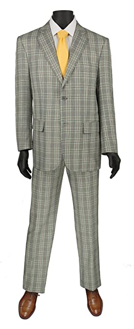 Men's Vintage Style Suits, Classic Suits VINCI Glen Plaid Pattern 2 Button Single Breasted Regular Fit Suit 2RW-5 $110.99 AT vintagedancer.com