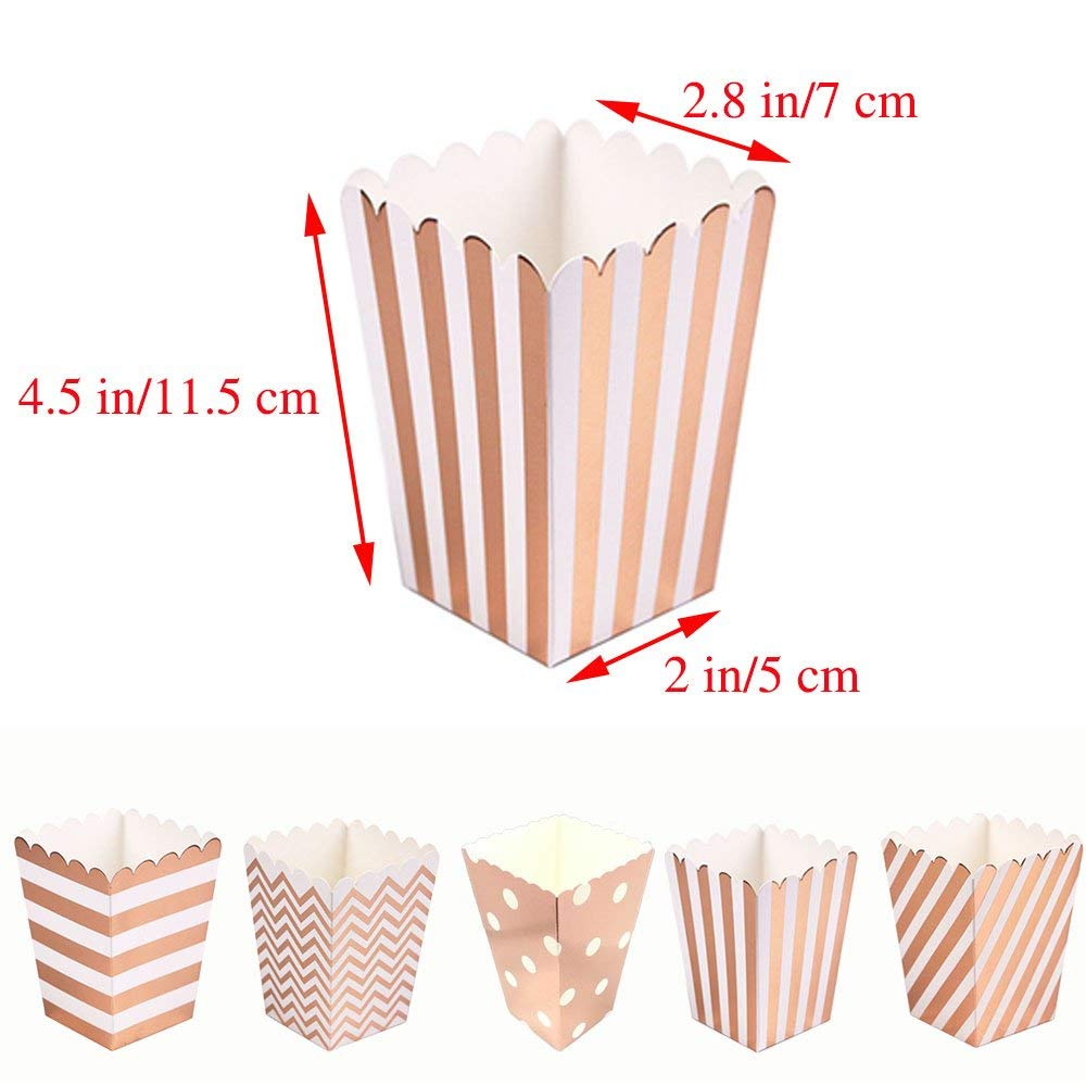 Mini Poprcorn Boxes 100 Pack Rose Gold Paper Popcorn Snack Containers Treat Box for Wedding Party Bridal Shower Birthday Movies by BALANSOHO (Image #8)