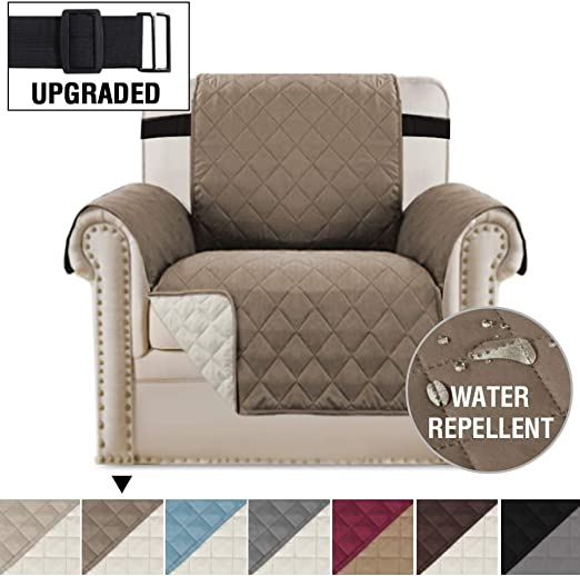 Quilted Recliner Chair Arm Cover Pet Furniture Reversible Microfiber Protector