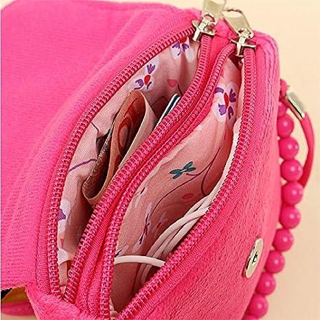 con cuentas para ni/ñas peque/ñas rosa rosa Talla:14x4x12cm Fablcrew bolso princesa con flores de fieltro