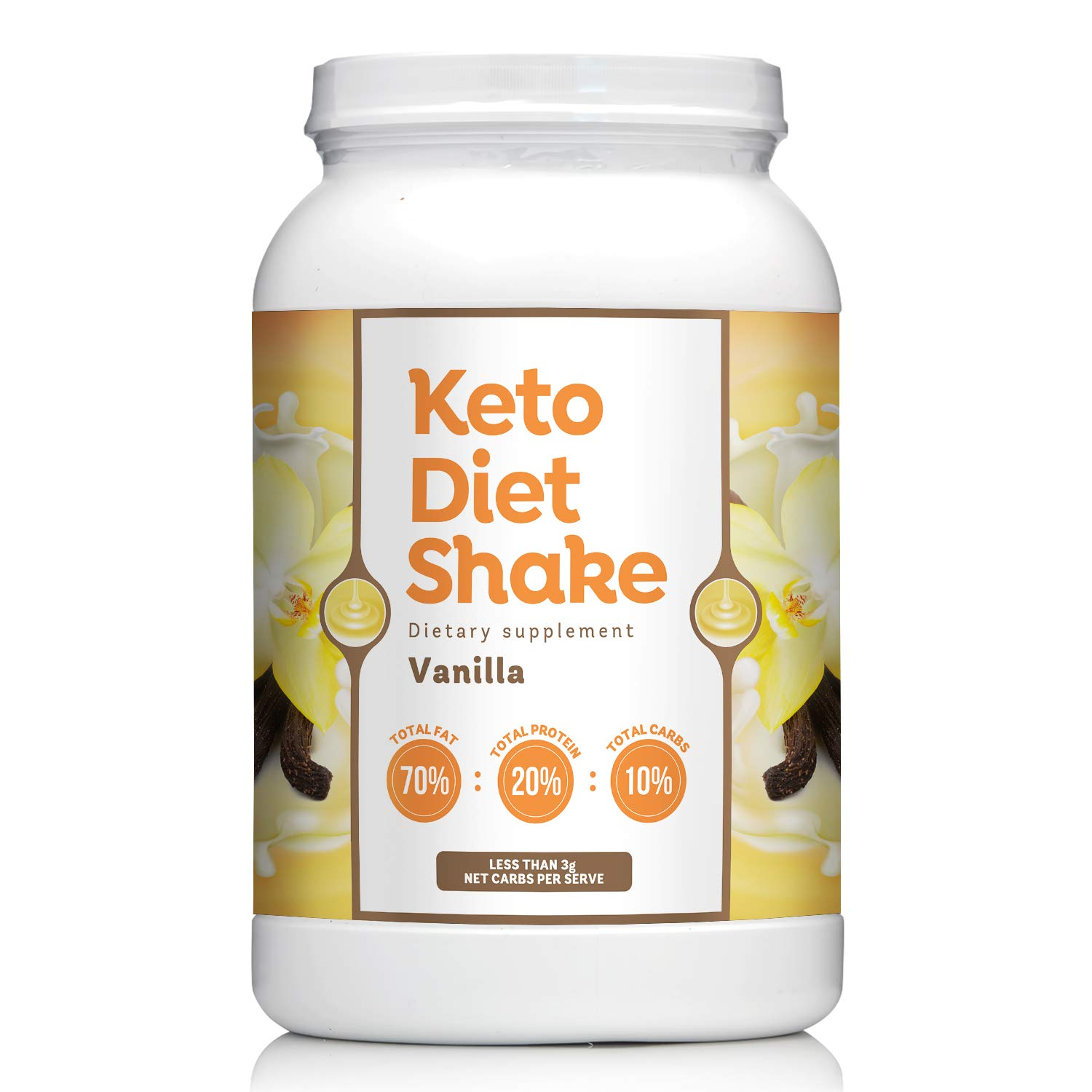 Keto Diet Shake with 70:20:10 Ratio Keeps You In Ketosis-Perfect For Low Carb High Fat Lifestyle - Less than 3g Net Carbs per Serve - Vanilla Flavor - 27 Servings by Keto lifestyle