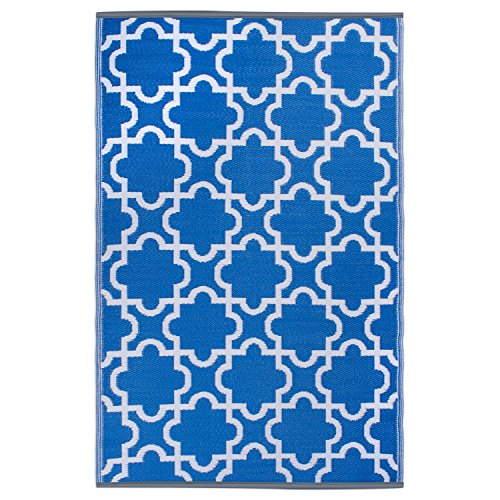 DII Moroccan Indoor/Outdoor Lightweight Reversible Fade Resistant Area Rug, Great For Patio, Deck, Backyard, Picnic, Camping, BBQ, & Everyday Use - 4 x 6-Feet, Blue Lattice (Outdoor Rugs For Patios)