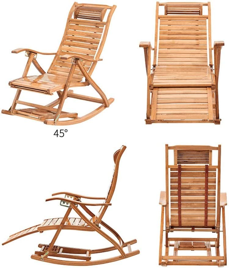 Armchairs ZR- Rocking Chair Adjustable Bamboo Lounge Chair With Cushion Portable Balcony Office Folding Chair Summer Outdoor Sun Loungers (Color : Chair+Long Pad) Chair+short Pad