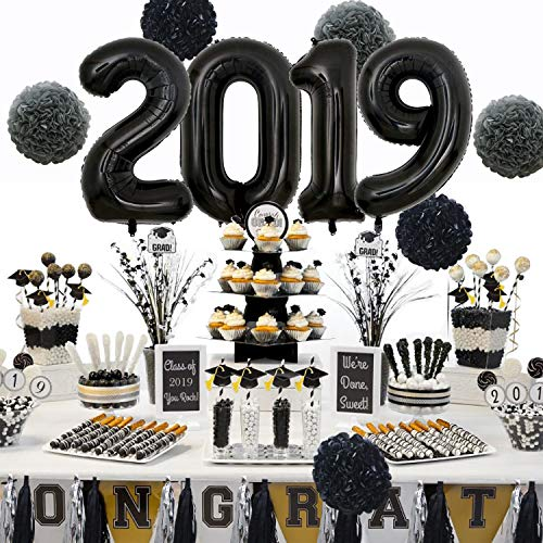 KAXIXI 2019 Graduation Decorations Kit, 2019 Anniversary Wedding Ceremony New Years Eve Party Supplies with 40inch Black 2019 Balloons, Tissue Paper Pom Poms Flowers, Tassel Garland Banner