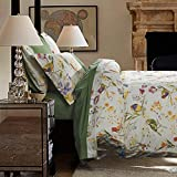 MAXYOYO America Country Style Duvet Cover Set,Beautiful Bird and Flower Cotton Bedding Set,Green Sheet Sets,Vintage Cotton Floral Duvet Covers,Full Queen Size 6Pcs (Full)