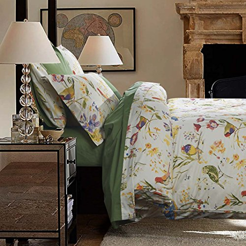 YOYOMALL America Country Style Duvet Cover Set, Beautiful Bird and Flower Cotton Bedding Set