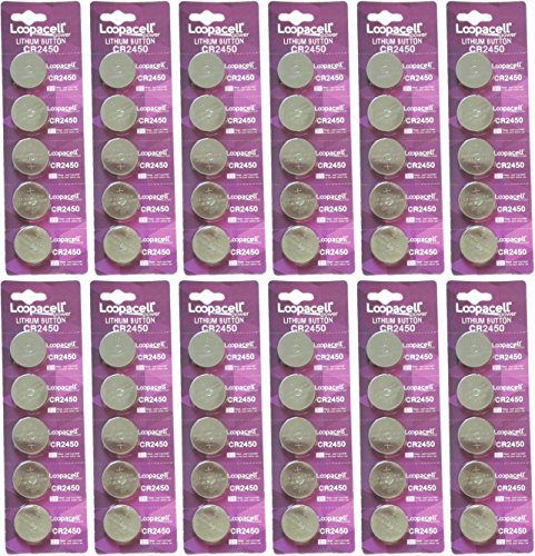 - 60 Pcs 2450 Batteries (CR2450/ DL2450/ E-CR2450) Lithium 3v (12 Packs of 5) by Loopacell