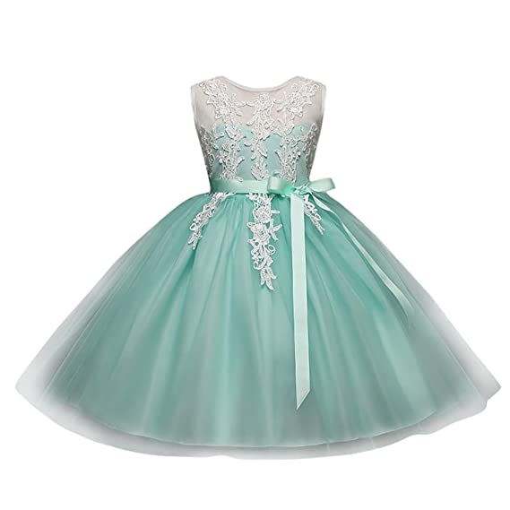 Vestido de niñas ,❤ Manadlian Vestido de niña vestido de princesa de encaje tutú