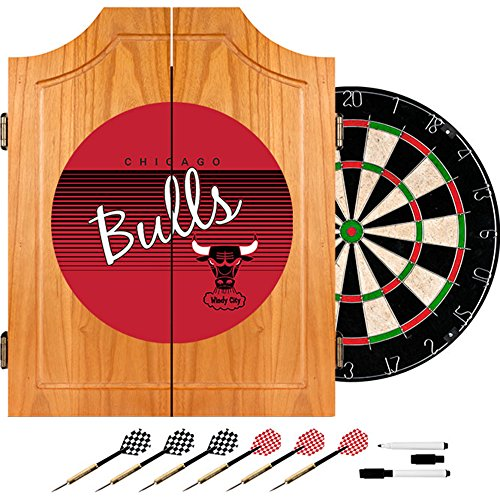 NBA Chicago Bulls Wood Dart Cabinet Set, One Size, Brown by Trademark Global