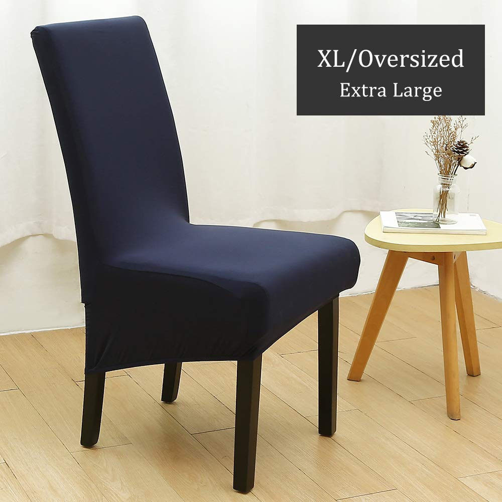 2 Per Set, Black XL//Oversized Removable Washable Soft Spandex Extra Large Dining Room Chair Covers for Kitchen Hotel Table Banquet Solid Color Stretch Dining Chair Slipcovers