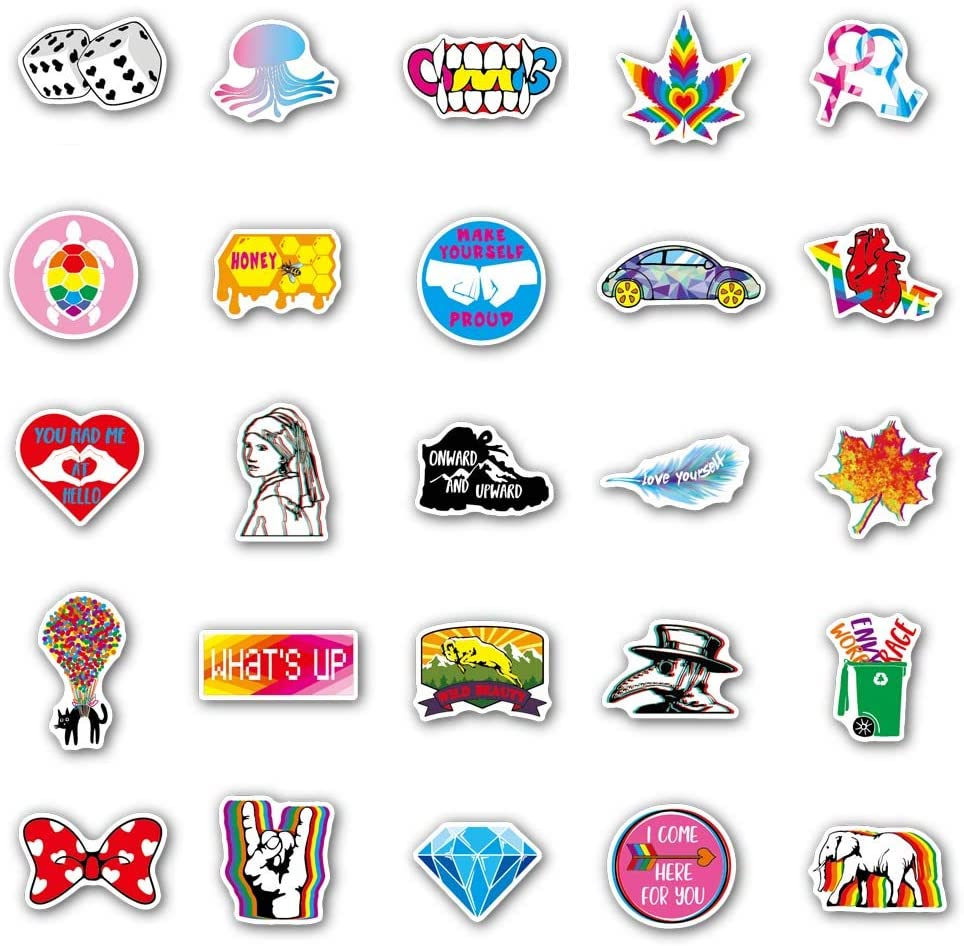 100 PCS Colorful Stickers for Flask Laptop Water Bottle Cute Aesthetic Vinyl Stickers Random Trend Graffiti Stickers Pack Not Repeating Waterproof Decals