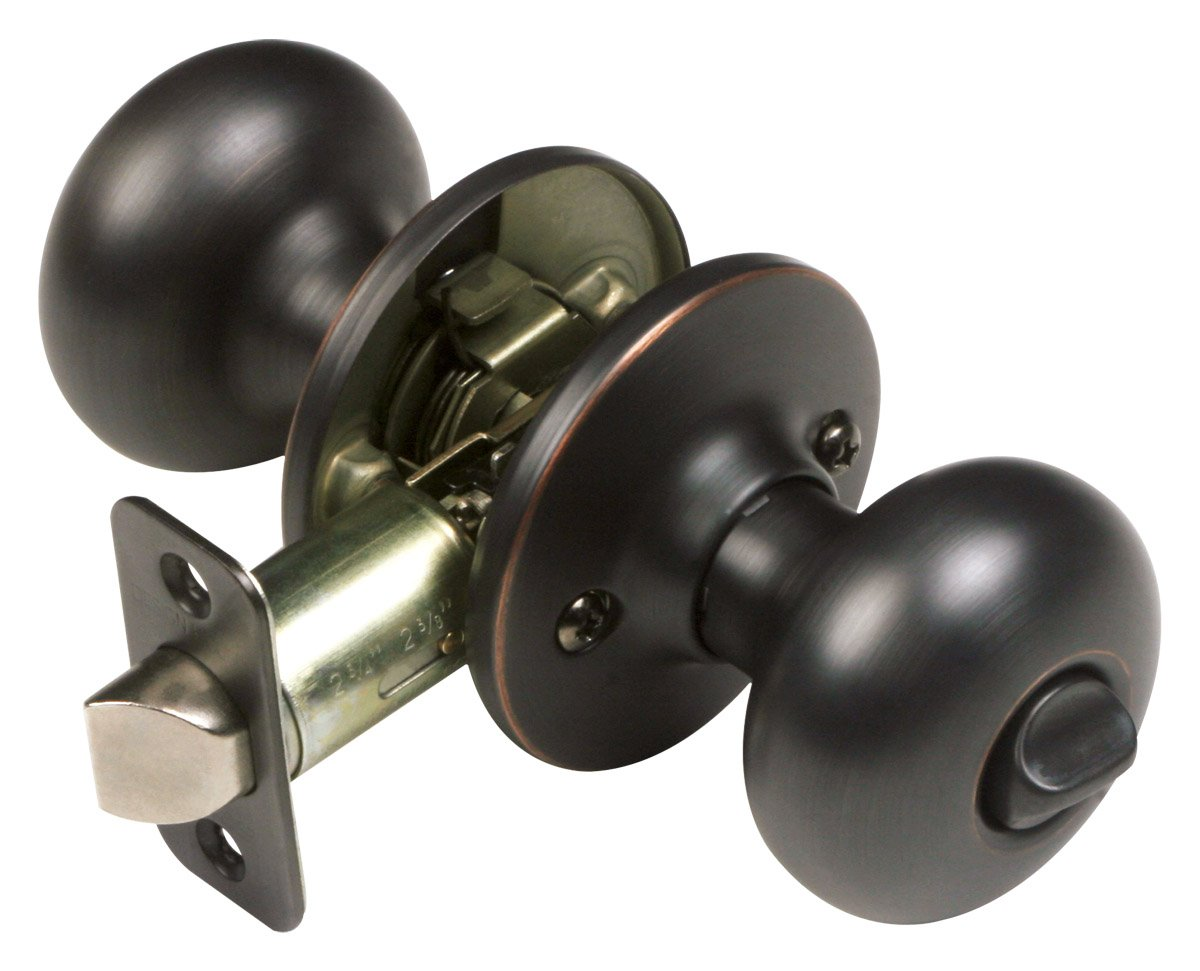 Design House 753228 Pro Cambridge Bed & Bath Door Knob, Oil Rubbed Bronze