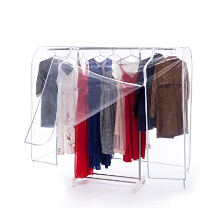 Amazon Com Qees Large Garment Rack Cover Clear Clothing Rack Cover