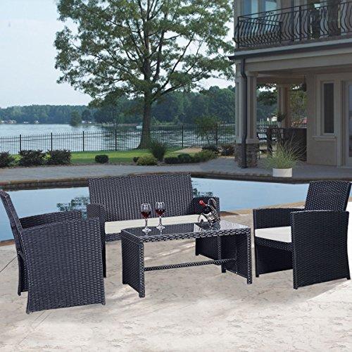 Goplus 4 pc rattan patio furniture set black wicker garden for Sofa exterior jardin