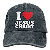 SDQQ6 I Love Jesus Christian Adult Cowboy Hat Baseball Cap Adjustable Athletic Customizable Hat for Men and Women