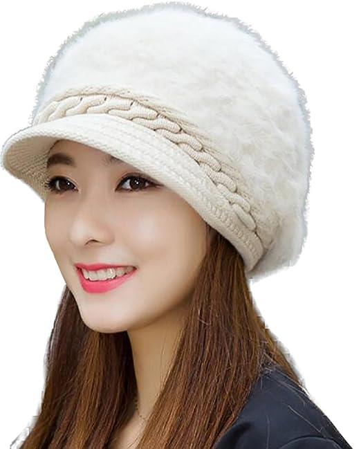 0e000d24d83 YI HENG MEI Faux Rabbit Fur Beanie Hats with Visor Cute Baseball Hat Cancer  Warm Headwear