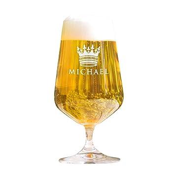 AMAVEL - Copa de Cerveza con Grabado - Corona - Personalizado - Copa Tulipa - Regalos de Cumpleaños para Hombres y Mujeres - Idea de Regalo - Capacidad ...